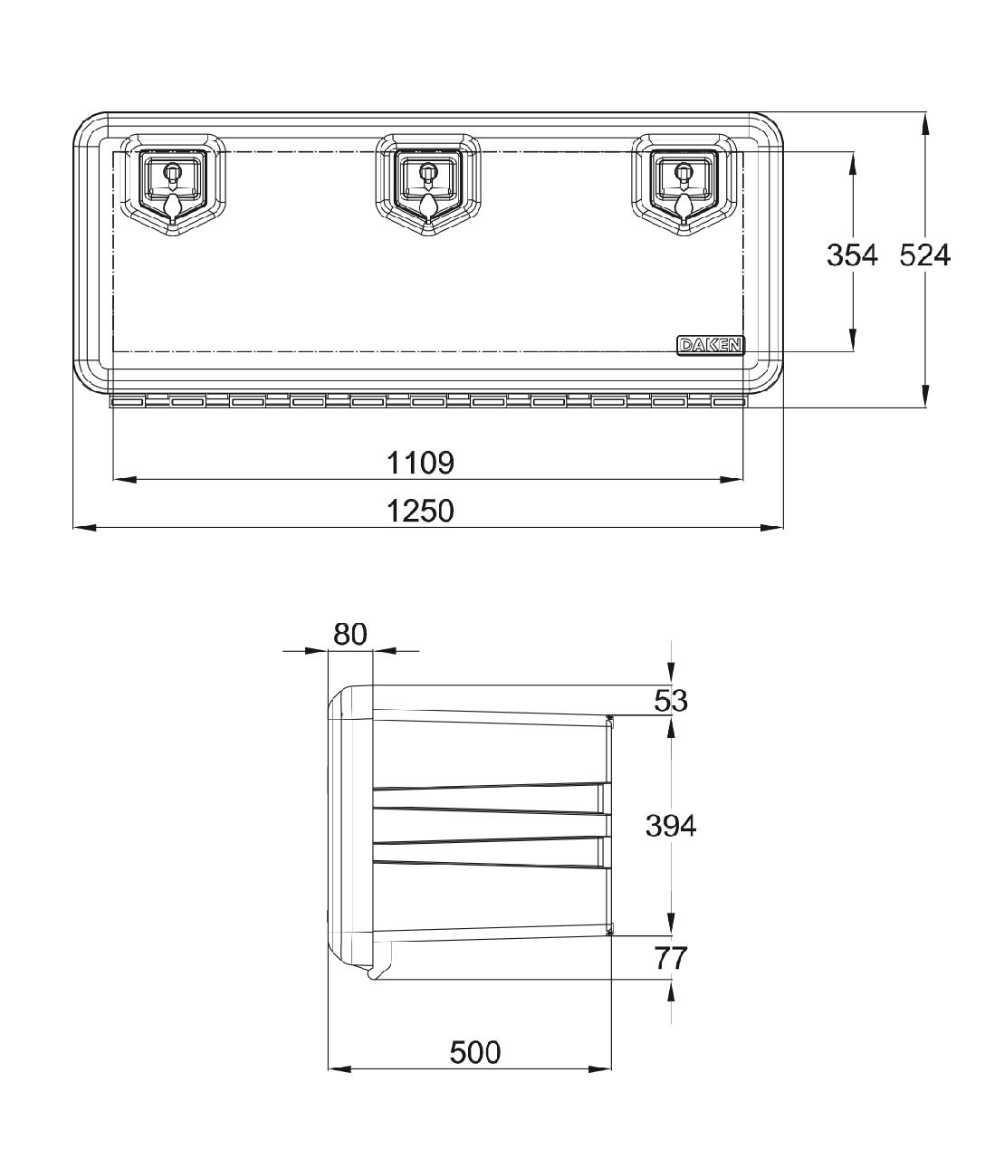 Ящик инструментальн. 1250мм, Daken Италия (пластик)