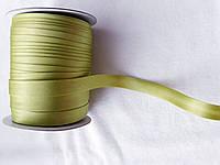 Косая бейка атласная, 15мм, цвет оливковый