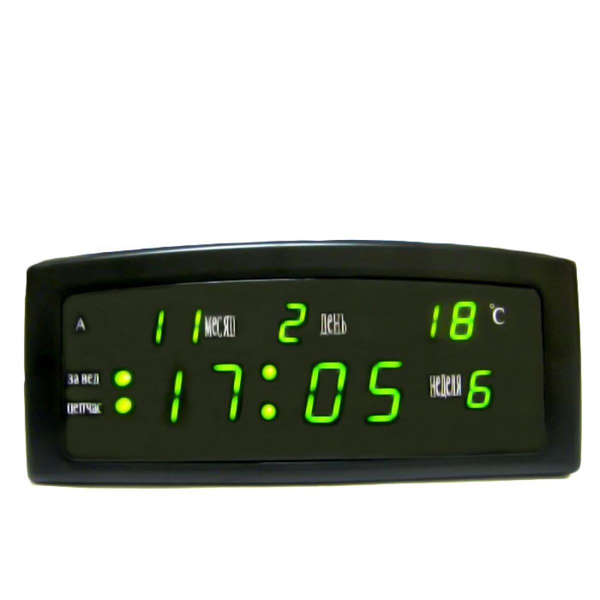 Настольные LED часы CX 909-A с зеленой подсветкой, черные