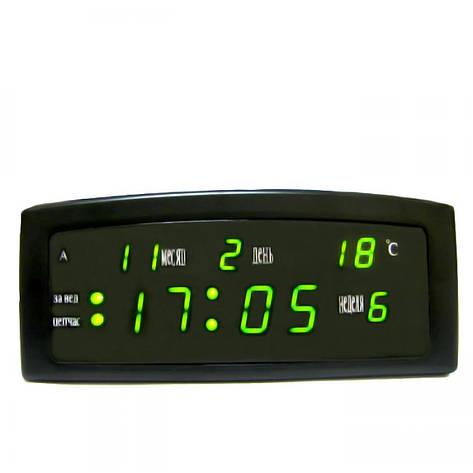 Настольные LED часы CX 909-A с зеленой подсветкой, черные, фото 2