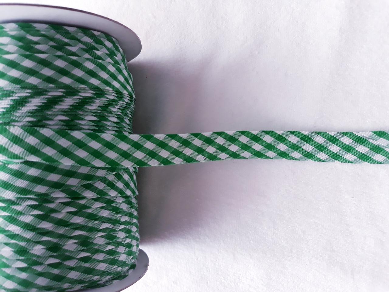 Косая бейка шотландка; ширина 15 мм. цвет зеленый
