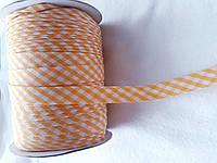 Косая бейка шотландка; ширина 15 мм. цвет желтый