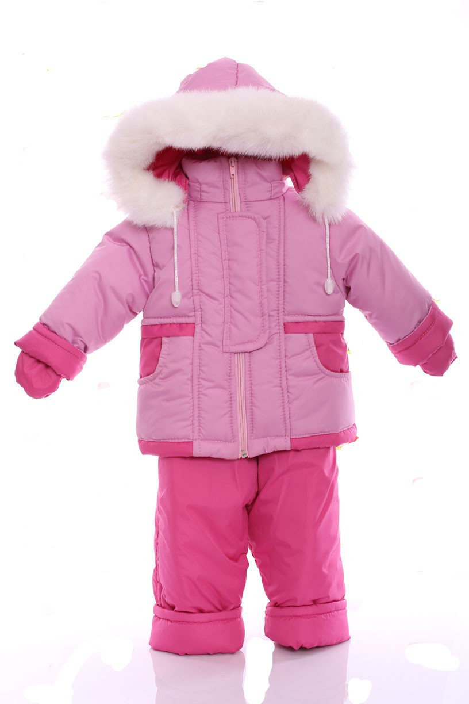 Зимний костюм с меховой подстежкой Ноль Светло-розовый