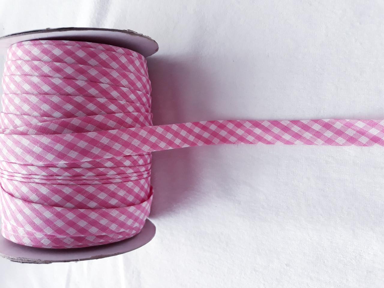 Косая бейка шотландка; ширина 15 мм. цвет розовый