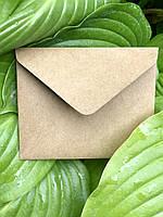 Плотный крафт конверт мини для пластиковой карты коричневый