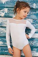Купальник для танцев и гимнастики со вставкой из стрейч-сетки белый