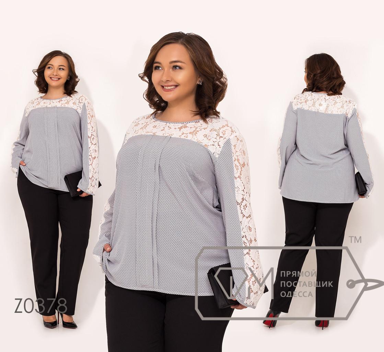 Костюм-двойка брюки из костюмки, блуза из принтованного софта с длинными рукавами и гипюровыми вставками Z0378