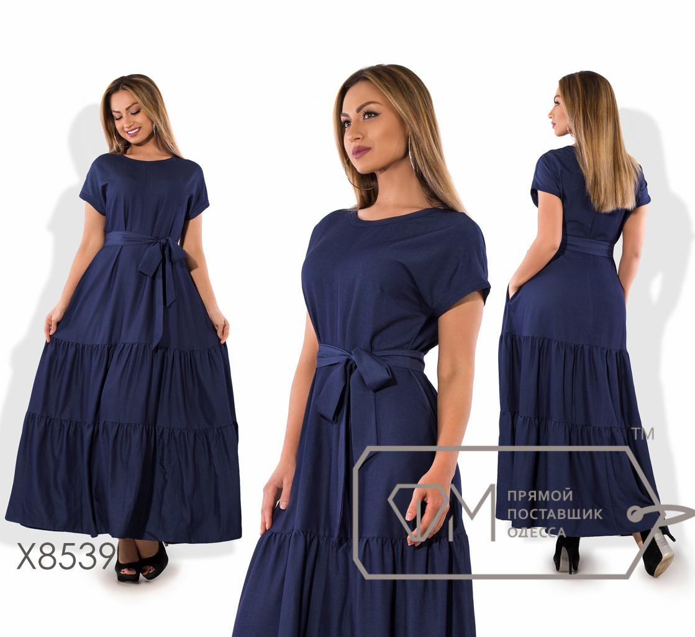 Платье макси из летнего джинса с коротким рукавом реглан, трёхъярусной юбкой и съёмным пояском X8539