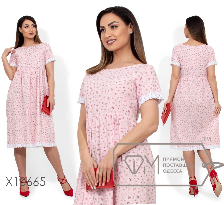 Платье-миди с цветочным принтом, круглым вырезом, завышенной талией, кружевной отделкой на коротких рукавах и подоле X10665
