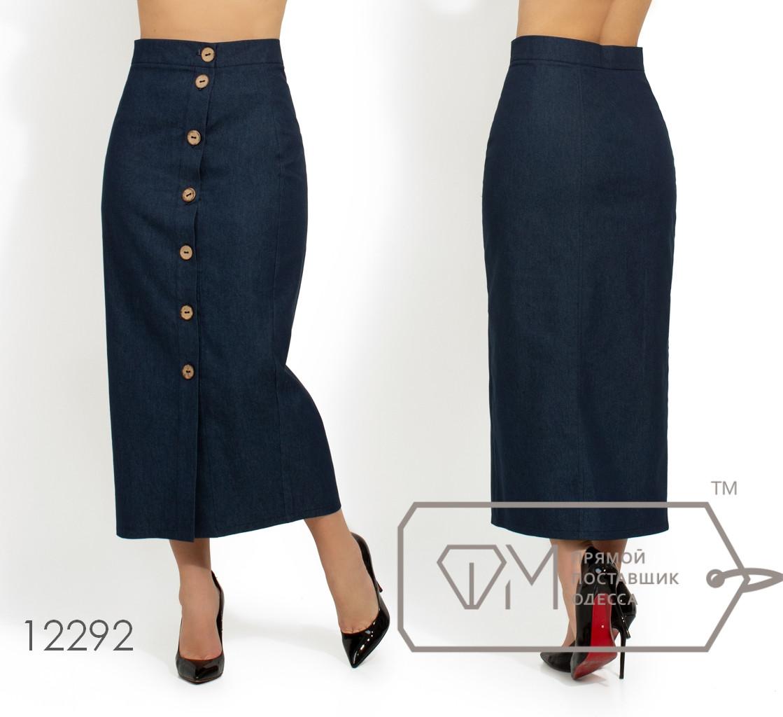 Джинсовая юбка-миди на контрастной застежке по всей длине 12292