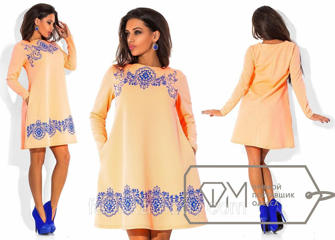 Платье мини свободного покроя с длинным рукавом из трикотажа соты с фактурным контрастным накатом 5729