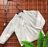 Вышиванка для мальчика с белой вышивкой Батист 092р-128р