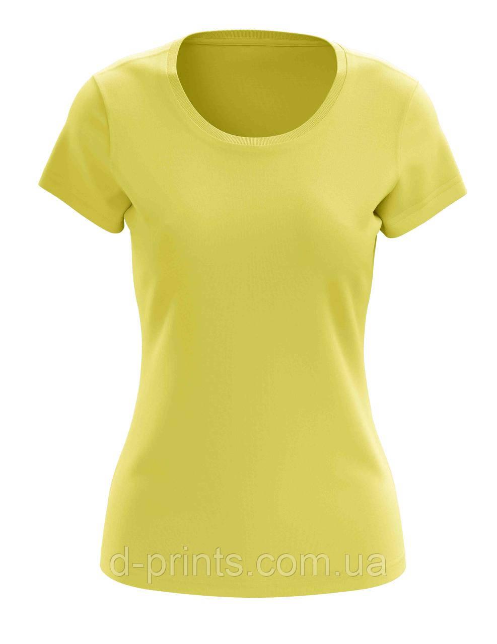 Футболка женская желтая 100% cotton