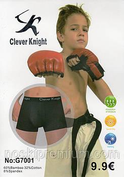 Детские подростковые боксеры хлопок с бамбуком Clever Knight, 6-15 лет, 7001