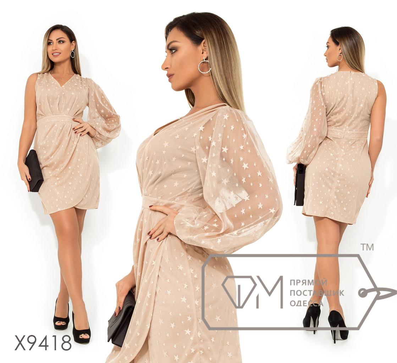Платье-мини с V-образным вырезом одним рукавом-фонарик втачным поясом и юбкой с имитацией запаха, основа сетка+вискозный подклад X9418