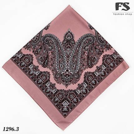 Павлопосадська рожева шерстяна хустина без бахрами  Болеро з дефектом!, фото 2