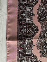 Павлопосадська рожева шерстяна хустина без бахрами  Болеро з дефектом!, фото 3