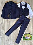Стильный костюм Montella для мальчика в школу: пиджак, жилет, рубашка и брюки, фото 2