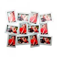 Фоторамка Двенадцать ярких мгновений, белая, на 12 фото