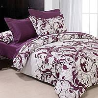 """Полуторный комплект постельного белья """"Завитки"""" фиолетовый с белым"""