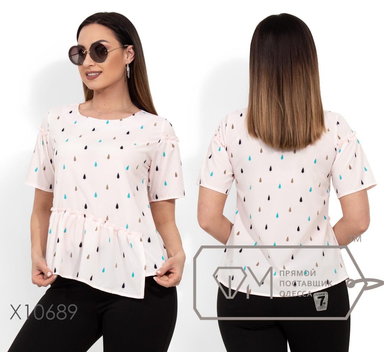 Блуза прямого кроя из софта с короткими рукавами и асимметричной оборкой по лицевой стороне X10689