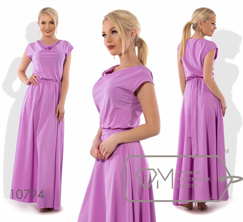 Платье в пол из софта с хомутом, коротким рукавом и резинкой по талии ( ткань просвечивается ) 10794