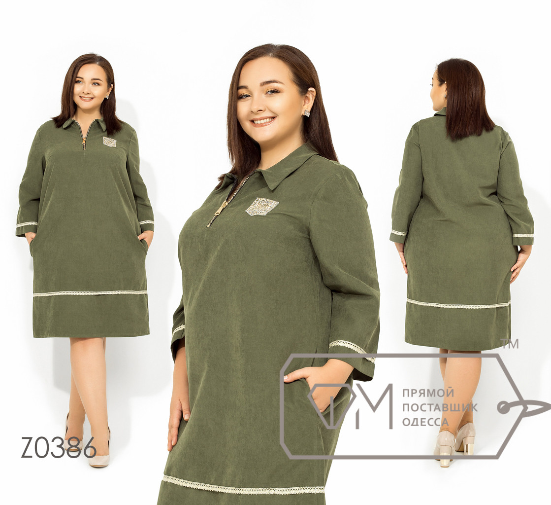 Платье-мини из ткани парка прямого кроя с рукавами 7/8 на груди с застежкой и аппликацией из страз и контрастной окантовкой на рукавах и юбке Z0386