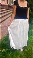 Юбка хлопок длинная белая выбитая  ., фото 1