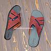 Шлепанцы мужские кожаные, цвет бордо, фото 2