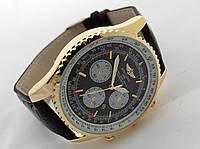 Мужские часы BREITLING  1884 кварцевые, черный циферблат, корпус в золотистом цвете