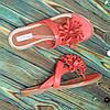 Женские кожаные шлепанцы-вьетнамки от производителя. Цвет коралл, фото 2