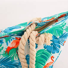 Сумка пляжная с фламинго зелёная 210-01, фото 3