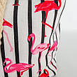 Сумка пляжная на канатах с Фламинго полосатая Текстильная Сумка летняя фламинго яркая на море пляж 210-02, фото 3