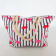 Сумка пляжная на канатах с Фламинго полосатая Текстильная