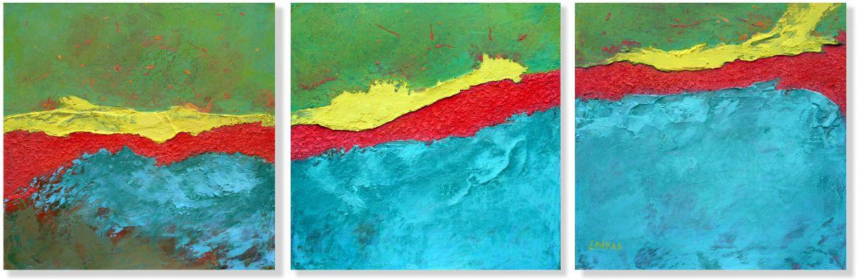 Репродукция модульной картины триптих «Красная река»