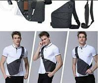 Мужская стильна сумка кобура на плечо Cross Body (серая). Практичный и удобный клатч для мужчин.