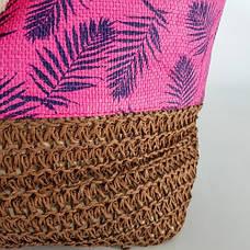 Сумка коричневый низ розовый верх листья 211-02, фото 2