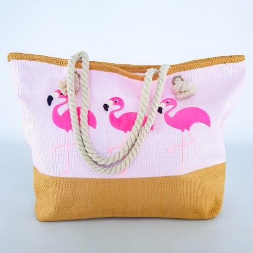 Пляжна Сумка Рожева - Фламінго 211-03 - літня сумочка на пляж, море ,Супер Якість