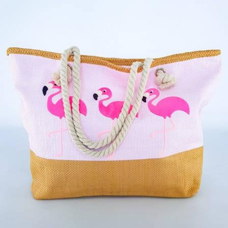 Пляжна Сумка Рожева - Фламінго 211-03 - літня сумочка на пляж, море ,Супер Якість, фото 2