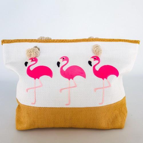 Сумка Пляжная Белая Фламинго Стильная Сумка модная на лето через плечо Летняя сумочка на пляж море  211-04