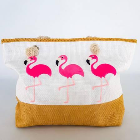 Сумка Пляжная Белая Фламинго Стильная Сумка модная на лето через плечо Летняя сумочка на пляж море  211-04, фото 2
