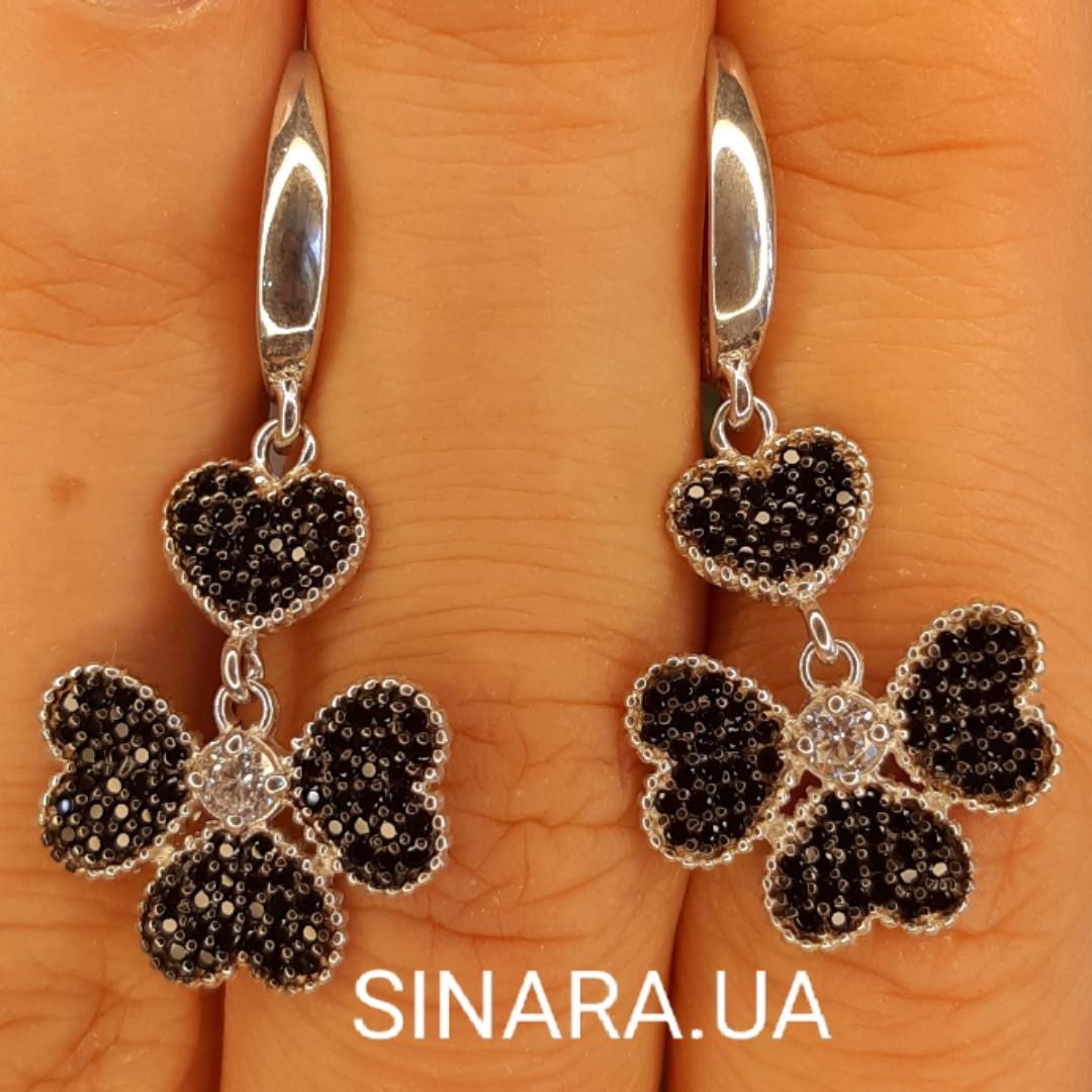 Серебряные серьги Black Clover - Серьги подвески серебряные Клевер - Серьги брендовые серебро