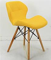 Стул Invar желтая экокожа на деревянных ножках, скандинавский стиль, дизайнCharles Eames