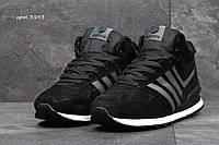 Мужские зимние кроссовки Adidas Neo замшевые,черные 46р