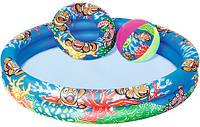 Надувной бассейн Royaltoys BW Бассейн 51124 детский,Подвод.мир,122-20см,2кольца,круг,мяч,ремком,в кор-ке, SKU_51124