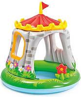 Надувной бассейн Royaltoys Бассейн 57122 круглый с навесом, замок, 68 л, 122-122см SKU_57122