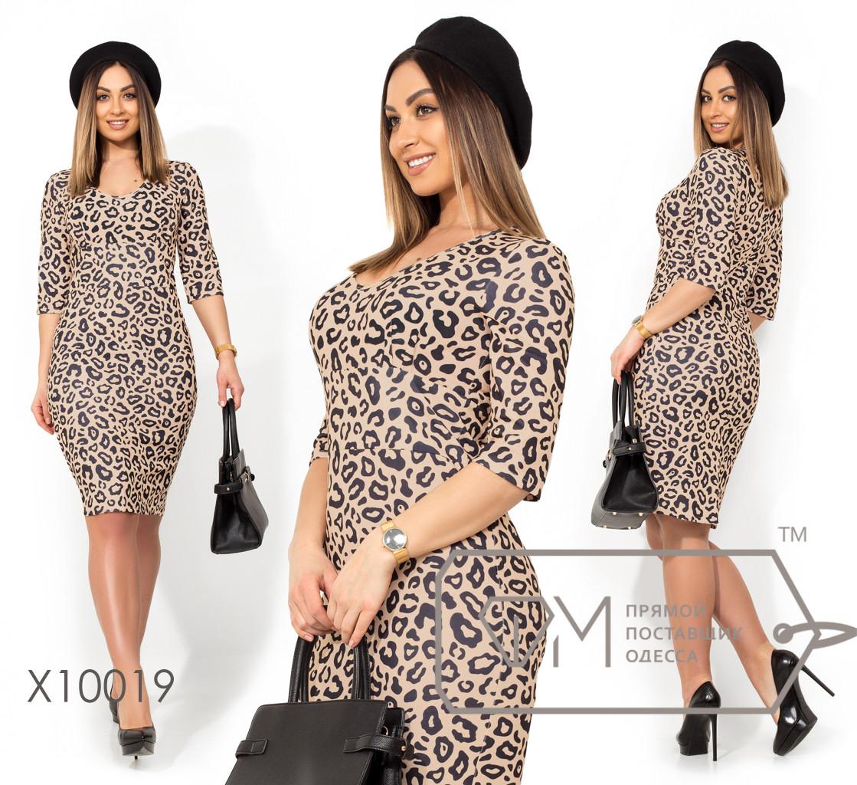 Платье-футляр миди отрезное из креп дайвинга с леопардовым принтом и глубоким декольте X10019