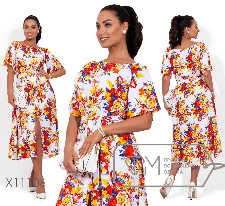 Платье-макси прямого кроя с  разрезом спереди и завязкой по горловине X11106