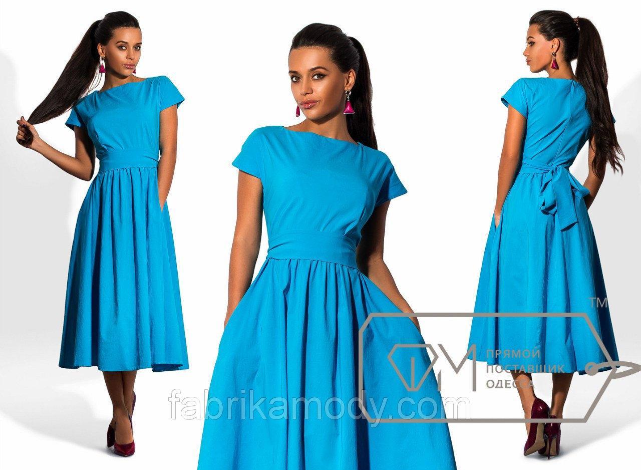 Платье миди полуприталенное из бенгалина с короткими рукавами и юбкой в складку под пояс 6645