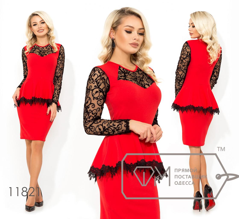 Нарядное платье из креп дайвинга с баской, узором вензель из флока+напыление на рукавах и кокетке 11821